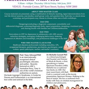 Attwood and Garnett: Master Class: Children and Adolescents with ASD – Sydney NSW 13 & 14 June 2019