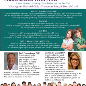 Attwood and Garnett: Master Class: Children and Adolescents with ASD – Melbourne VIC 17 & 18 October 2019