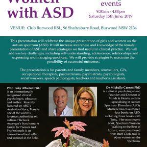 Attwood and Garnett: Girls and Women with ASD – Burwood NSW 15 June 2019
