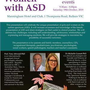 Attwood and Garnett: Girls and Women with ASD – Melbourne VIC 19 October 2019