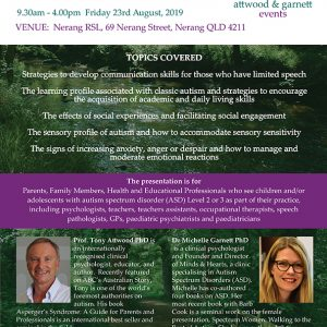 Attwood and Garnett: Challenging Behaviour in Classic Autism – Nerang QLD 23 August 2019