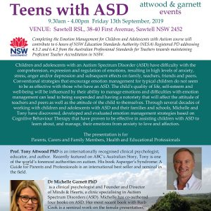 Attwood and Garnett: Emotional Management for Children and Teens with ASD – Sawtell NSW 13 September 2019