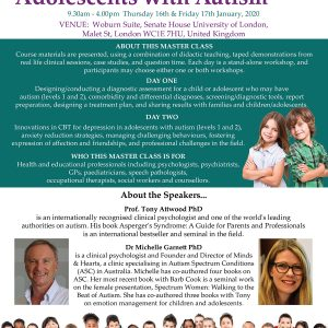 Attwood and Garnett: Master Class: Children and Adolescents with Autism – London UK 16 & 17 January 2020