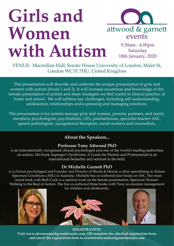 Attwood and Garnett: Girls and Women with Autism - London UK 18 January 2020
